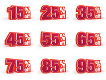 Set of Discount price signs in red wool look Stock Photos