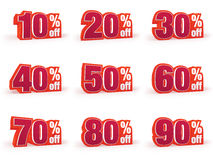 Set of Discount price signs in red wool look Royalty Free Stock Images