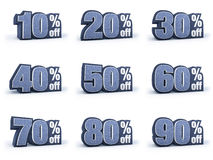 Set of Discount price signs, in 9 variations isolated on white b. Discount price signs in blueish denim look, isolated on white background, 3D rendering, 10% off stock illustration