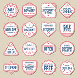 Set of discount sale free labels, banner and badges vector set. Discount sale free labels, banner and badges vector set Stock Images