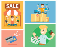 Set of discount sale illustration Royalty Free Stock Image