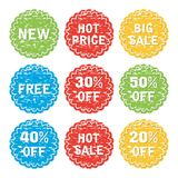 Set of discount and sale labels. vector. Set of discount and sale label. price tags, sale offer labels isolated on white background. eps10. vector Stock Photo