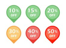 Set of discount sign icon Stock Images