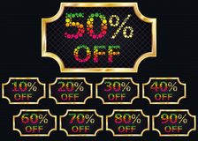 Set of discount signs. From 10 to 20 percents. Bubble texts. Gold frame Royalty Free Stock Photos