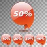 Set Discount Sticker. Sale Red Tag Isolated on transparent Stock Photo