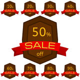 Set of discount stickers. Brown badges with red ribbon for sale 10 - 90 percent off. Vector illustration royalty free illustration