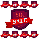 Set of discount stickers. Dark red badges with red ribbon for sale 10 - 90 percent off. Vector illustration stock illustration