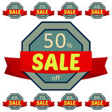 Set of discount stickers. Gray badges with red ribbon for sale 10 - 90 percent off. Vector illustration Stock Illustration