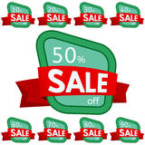 Set of discount stickers.Green badges with red ribbon for sale 10 - 90 percent off. Vector illustration stock illustration