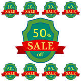Set of discount stickers. Green badges with red ribbon for sale 10 - 90 percent off. Vector illustration Vector Illustration