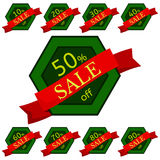 Set of discount stickers. Green hexagonal badges with red ribbon for sale 10 - 90 percent off. Vector illustration stock illustration