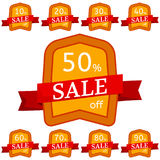 Set of discount stickers. Orange badges with red ribbon for sale 10 - 90 percent off. Vector illustration Stock Illustration