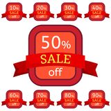 Set of discount stickers. Red badges with red ribbon for sale 10 - 90 percent off. Vector illustration Royalty Free Illustration