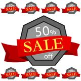 Set of discount stickers. Grey badges with red ribbon for sale 10 - 90 percent off. Vector illustration Stock Photography