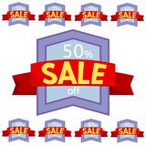 Set of discount stickers. Violet badges with red ribbon for sale 10 - 90 percent off. Vector illustration Royalty Free Stock Images