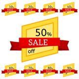Set of discount stickers. Yellow badges with red ribbon for sale 10 - 90 percent off. Vector illustration Royalty Free Stock Image