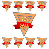 Set of discount stickers. Triangular orange badges with red ribbon for sale 10 - 90 percent off. Vector illustration stock illustration