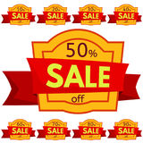 Set of discount stickers. Yellow badges with red ribbon for sale 10 - 90 percent off. Vector illustration royalty free illustration