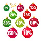Set of discount tags 10,15,20,25,30,40,50,60,70 percent off in the shape of Christmas balls. Winter holiday discount. Set of discount tags 10,15,20,25,30,40,50 vector illustration