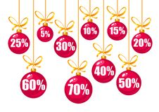 Set of discount tags 10,15,20,25,30,40,50,60,70 percent off in the shape of red Christmas balls hanging on a golden. Ribbons. Winter holiday discount offer stock illustration