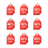 Set of discount tags Stock Photos