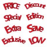 Set of discount text 3d Stock Photo