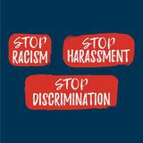 Set of Discrimination, Racism and Harassment label. Font with Br. Ush. Equal Rights Badges. Vector illustration icon vector illustration