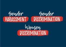Set of Discrimination, Racism and Harassment label. Font with Br. Ush. Equal Rights Badges. Vector illustration icon royalty free illustration