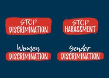 Set of Discrimination, Racism and Harassment label. Font. With Brush. Equal Rights Badges. Vector illustration icon vector illustration