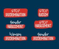Set of Discrimination, Racism and Harassment label. Font. With Brush. Equal Rights Badges. Vector illustration icon royalty free illustration