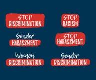 Set of Discrimination, Racism and Harassment label. Font royalty free illustration
