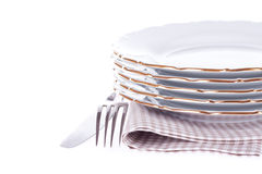 Set of dish, fork, knife and napkin Royalty Free Stock Photography