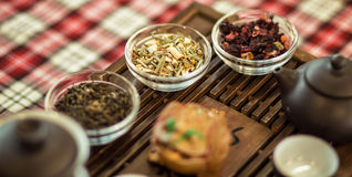 Set of dishes for chinese tea ceremony on tray. Herbal tea Stock Photo