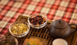 Set of dishes for chinese tea ceremony on tray. Red tea Royalty Free Stock Photo