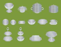 Set of dishes on a green background Royalty Free Stock Photography