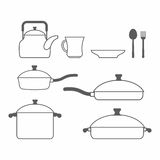 Set of dishes. Kitchen utensils of lines. Vector illustration Royalty Free Stock Photo