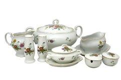 Set of dishes portselyanovoy Stock Images