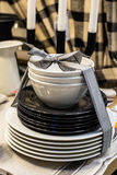 Set of dishes tied with a ribbon Royalty Free Stock Photos