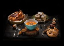Set of dishes on wood table Stock Image