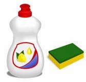 Set dishwashing. Means for washing of ware and sponge royalty free illustration
