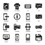 Set of Diskette, Mobile phone, Monitor, Smartphone, Vhs, Phone book icons. Set Of 16 simple  icons such as Diskette, Mobile phone, Smartphone, Monitor, Projector Stock Photo