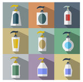 Set of Dispenser Pump Bottle Icon Stock Photos
