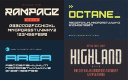 Set of display fonts, typefaces, vector uppercase letters and nu. Mbers. Global swatches royalty free illustration