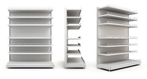 Set of displays with shelves on white Stock Photography