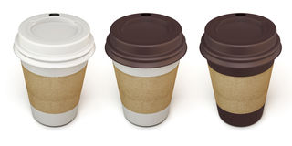 Set of disposable cups for coffee in different colors Royalty Free Stock Photography