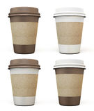 Set of disposable cups for coffee in different colors Stock Photo