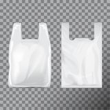 Set of Disposable T-Shirt Plastic Bag Package. Illustration Isolated Transparent Background. Vector Mock Up Template vector illustration