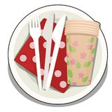 A set of disposable tableware isolated on white background. Vector cartoon close-up illustration. A set of disposable tableware isolated on white background vector illustration