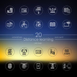 Set of distance learning icons. Distance learning modern icons for mobile interface on blurred background Stock Image