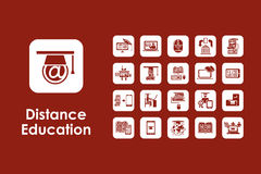 Set of distance learning simple icons Stock Photos
